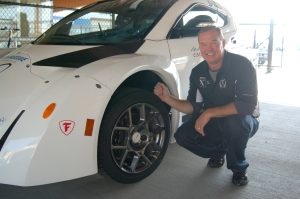 Al Unser Jr. with the ZAP Alias Electric Car using Firestone Tires